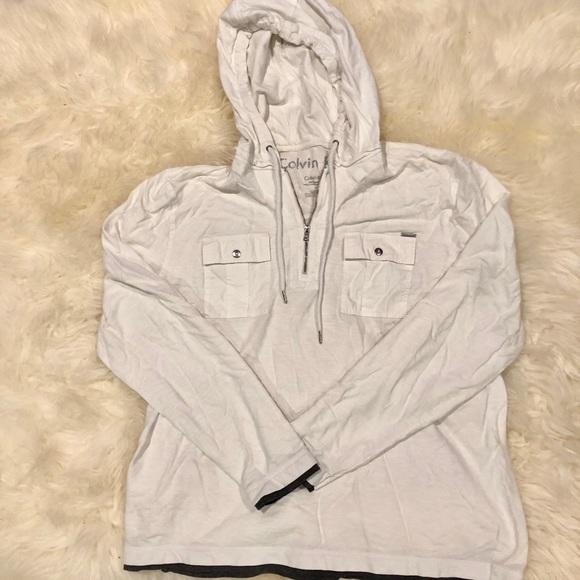 calvin klein hooded long sleeve shirt